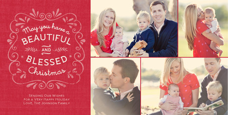 Beautiful and Blessed Christmas 8x4 Flat Card