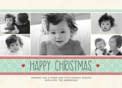 Homespun Christmas Pattern 7x5 Flat Card