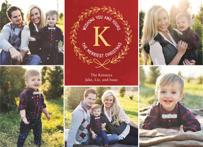 Monogram with Laurels on Red 7x5 Flat Card