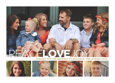 Photo Grid with Peace Love Joy 7x5 Flat Card