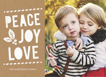 Peace Joy Love on Kraft 7x5 Flat Card