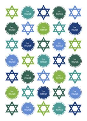 Bar Mitzvah - Circles and Stars 5x7 Folded Card