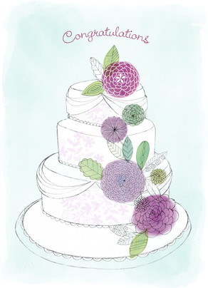 Congratulations Wedding Cake 5x7 Folded Card