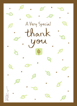 Thank You with Leaf Pattern 5x7 Folded Card