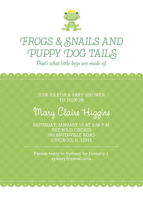 Frogs & Snails Baby Shower 5x7 Flat Card
