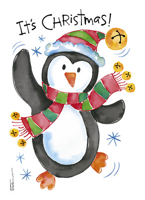 Jingle Bell Penguin 5x7 Folded Card