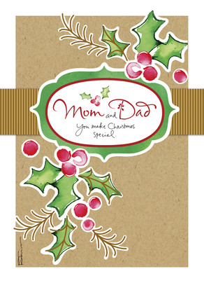 Holly Berries - Mom and Dad 5x7 Folded Card