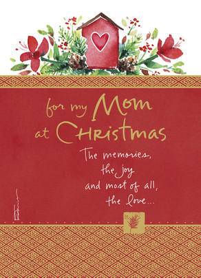 Christmas Birdhouse - Mom 5x7 Folded Card