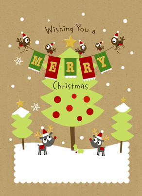 Christmas Critters with Tree 5x7 Folded Card