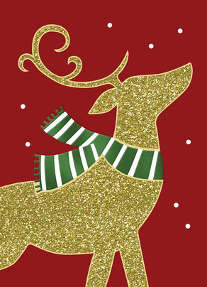 Gold Glitter Reindeer 5x7 Folded Card