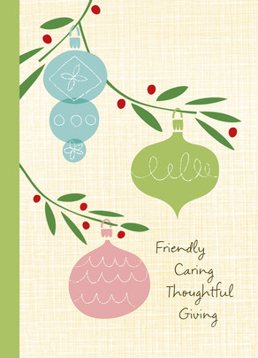 Christmas Baubles with Line Art 5x7 Folded Card