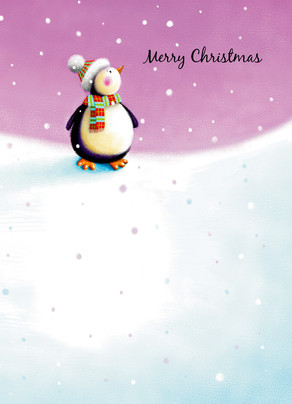 Fuzzy Christmas Penguin 5x7 Folded Card