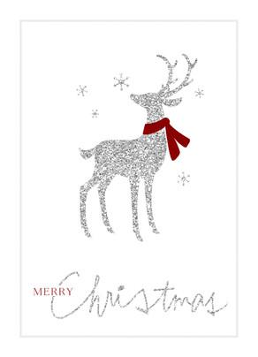 Reindeer Christmas Cards.Silver Glitter Reindeer