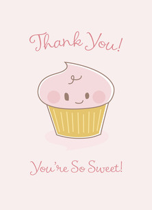 Baby Shower Cupcake - Thank You 3.75x5.25 Folded Card