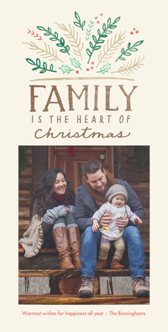 Family Is the Heart Watercolor Design 4x8 Flat Card