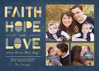 Faith, Hope and Love with Photos 7x5 Flat Card