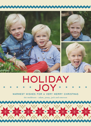 Holiday Joy - 3 Photos 5x7 Flat Card