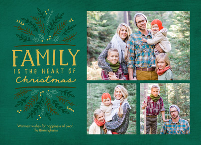 Family is the Heart - Green 7x5 Flat Card