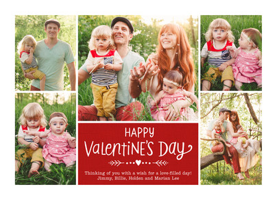 Valentine's Day on Red - Multi-photo 7x5 Flat Card