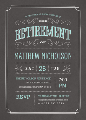 retirement chalkboard invitation 5x7 flat card