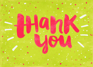 Bright Brush Script Thank You 5.25x3.75 Folded Card