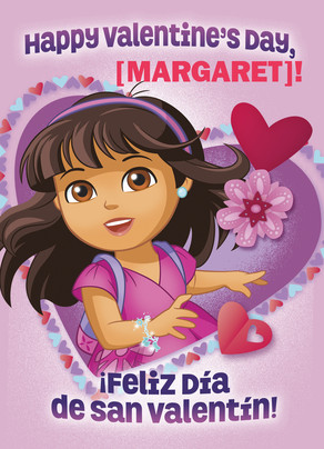 Dora with Valentine Hearts 5x7 Folded Card