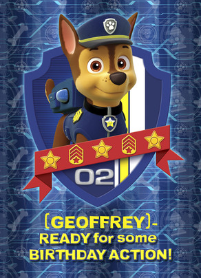 Paw Patrol Birthday - Chase 5x7 Folded Card