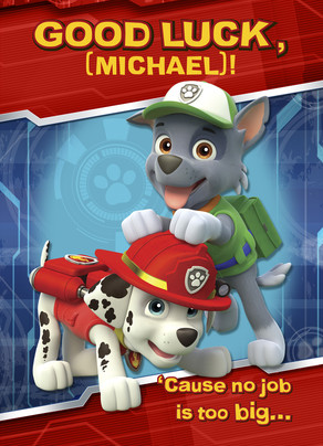 Paw Patrol Good Luck - Rocky and Marshall 5x7 Folded Card