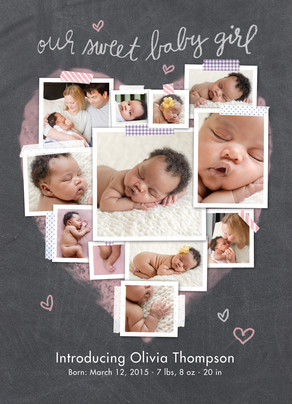 Chalkboard Photo Collage - Baby Girl Baby Announcement | Cardstore