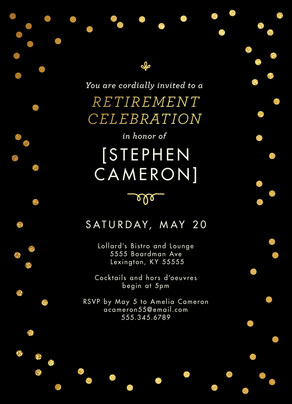 Retirement Invite - Black with Gold Confetti 5x7 Flat Card