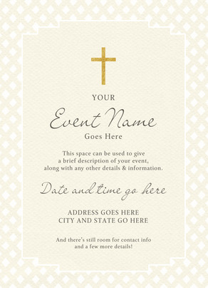 Religious Invitation Gold Cross Religious Events Invitation