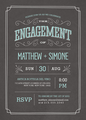 Chalkboard Engagement Invitation 5x7 Flat Card