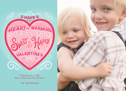 Valentine Heart on Teal 7x5 Flat Card