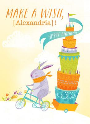 Birthday Bunny 5x7 Folded Card