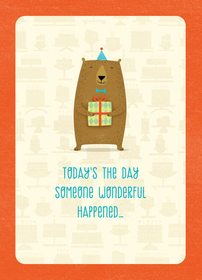Cute Bear with Present 5x7 Folded Card