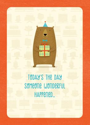 Cute Bear with Present 5x7 Folded Card