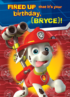 Paw Patrol Birthday - Marshall 5x7 Folded Card