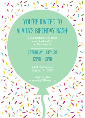 Invitation with Confetti 5x7 Flat Card