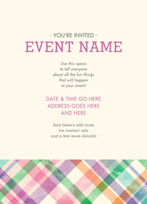 Invitation with Pastel Plaid 5x7 Flat Card