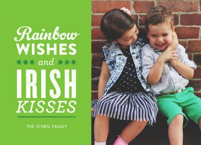 Rainbow Wishes and Irish Kisses 7x5 Flat Card