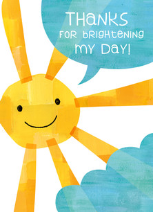 Sunshine Thanks 3.75x5.25 Folded Card