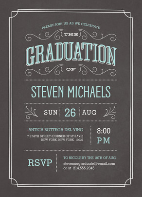 Chalkboard Look Grad Invitation 5x7 Flat Card