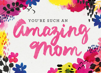 Amazing Mom Watercolor 7x5 Folded Card