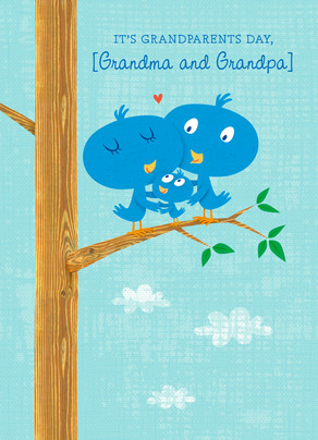 Grandparent Bluebirds 5x7 Folded Card