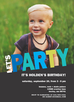Let's Party! Block Letter Invitation - Blue 5x7 Flat Card