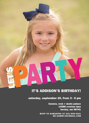 Let's Party! Block Letter Invitation - Pink 5x7 Flat Card