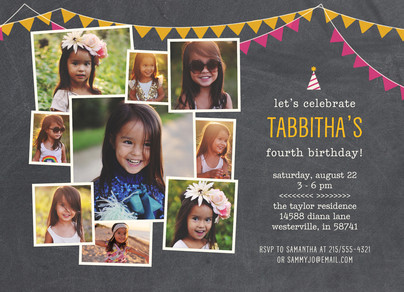 Chalkboard Party Invite - Pink & Gold 7x5 Flat Card
