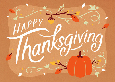 Happy thanksgiving fall lettering thanksgiving card cardstore happy thanksgiving fall lettering 7x5 folded card m4hsunfo