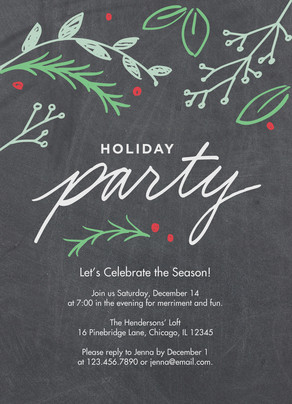 Holiday Invitation - Holly on Chalkboard 5x7 Flat Card