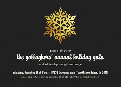 CYO Invitation - Gold Snowflake on Black 7x5 Flat Card